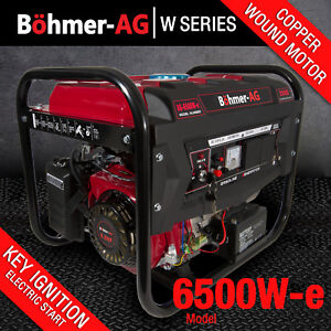 Bohmer Generator 2800w 3.4 KVA 4 Stroke Petrol UK 8HP 6500W-E Electric Key Start