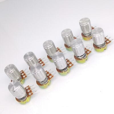 Us Stock 10 Units 10k B10k Ohm Linear Taper Rotary Potentiometer Pot Silver Knob