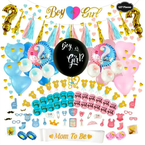 Gender Reveal Party Supplies, Baby Shower Boy or Girl Decoration Set -127 PIECES