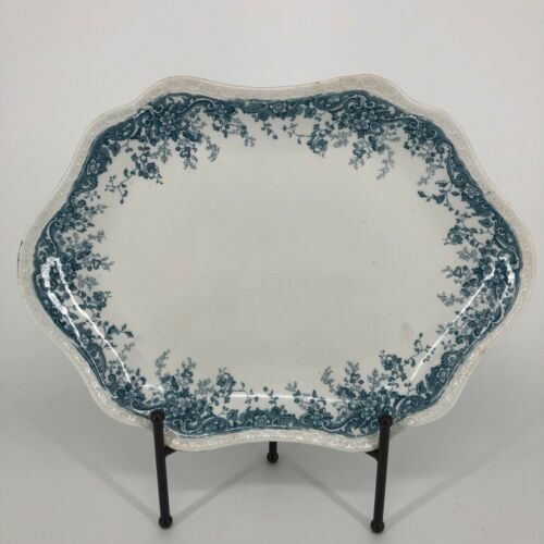 Eureka J. H. W. & Sons Blue Floral Design Serving Platter Semi Porcelain