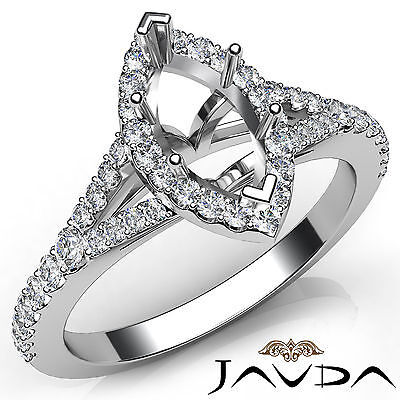 Marquise Diamond Halo Pave Setting Engagement Semi Mount Ring Platinum 950 0.5Ct