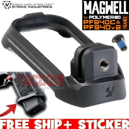 Strike Industries Magwell for Polymer80 P80 PF940C & PF940v2 Frames Black Poly