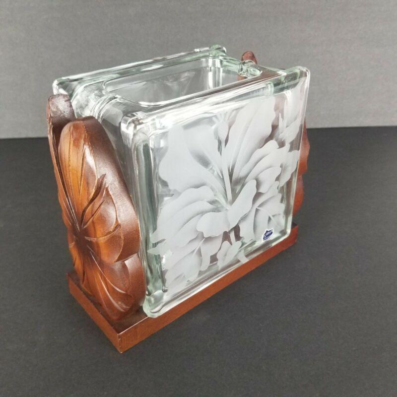 "Frank Oda Arts Hawaii Glass Block Vase Wood Etched Hibiscus Flower Vintage 6"""
