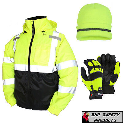 Hi-vis Insulated Safety Bomber Jacket With Winter Weather Work Gloveshat - Lime