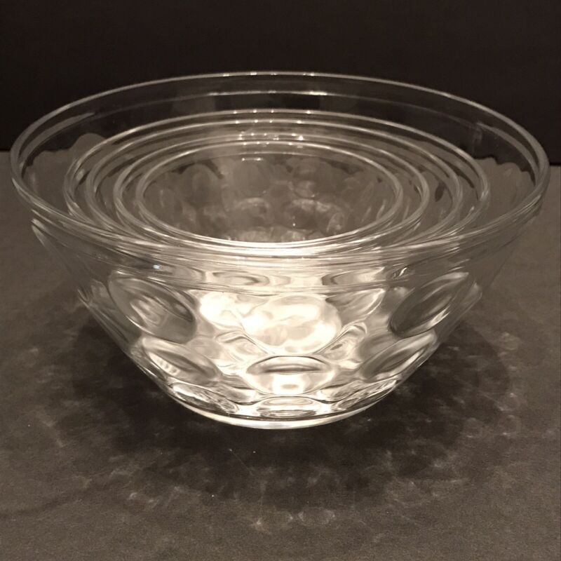 Coin Dot Clear Glass Nesting Bowls Mixing Bowls Set of 5