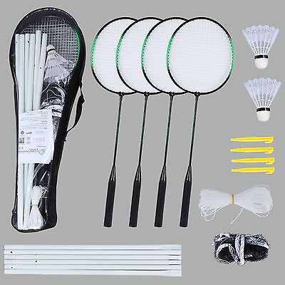 Badminton Set Outdoor 4 Player Racket Backyard Ball Game Sport Shuttlecock Net
