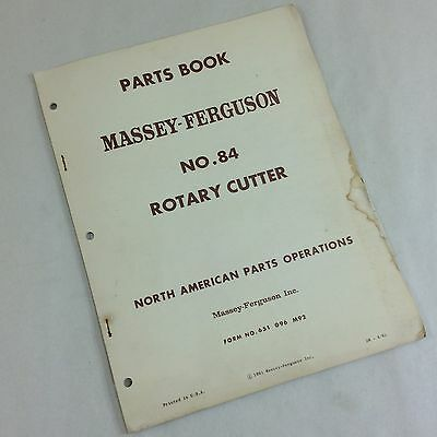 Massey Ferguson No.84 Rotary Cutter Bush Hog Brush Mower Parts Book Manual Mf
