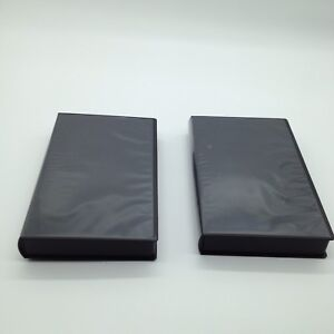 Lot Of 2 NEW Black VHS Tape Storage Cases Empty Clamshell W/ Sleeves No Hub