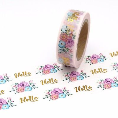 Hello Floral Washi Tape Gold Foil Flowers 15mm x 10m
