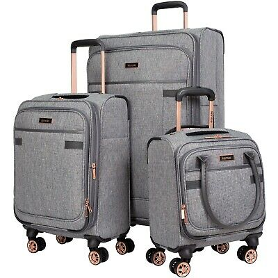 Charcoal Tweed 3PC Exp Soft Spinner Luggage Set with 28
