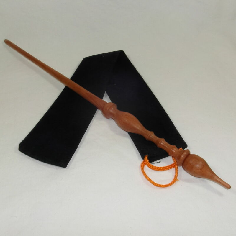 """16"""" Hand Turned Carved Beech Wood Magic Wand Witch Wizard Wicca w/ Velvet Bag"""