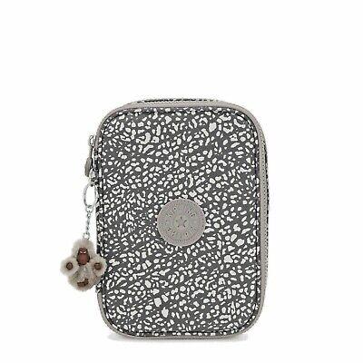 Kipling 100 Pens Case Lunminous Stripe w/ Original Monkey Keychain Grey New Tags