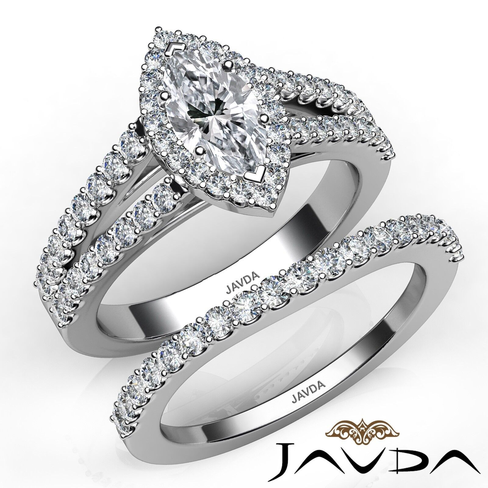 1.95ct Modern Halo Bridal Set Marquise Diamond Engagement Ring GIA E-VVS2 W Gold