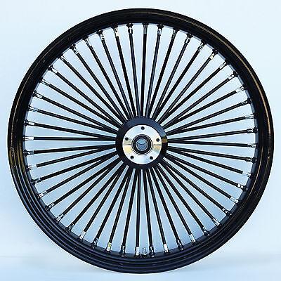 "Black & Black 48 King Spoke 21"" x 2.15"" Front Wheel for Harley and Custom Models"