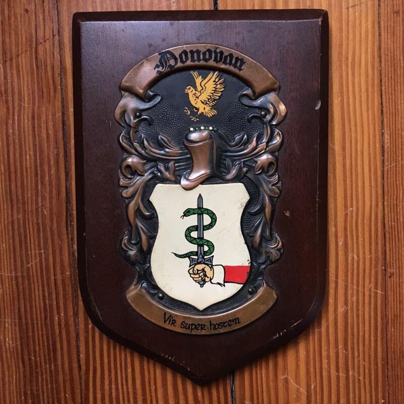 Vintage Donovan Heraldic Artists Crest Shield Copper Wood Plaque Ireland