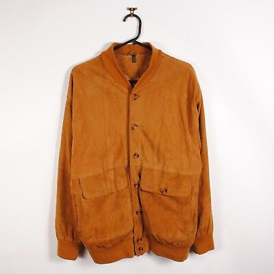Vintage Suede Bomber Jacket in Camel Genuine Leather Button Up 90s Womens UK 20