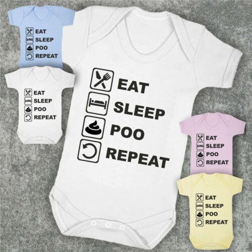 EAT SLEEP POO REPEAT > Baby Bodysuit Babygrow Vest Funny Baby Shower Gift