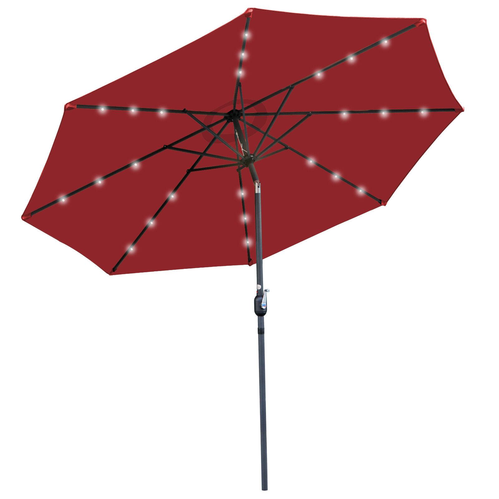Sunshine Outdoor 10ft Solar Umbrella – 24 LED Light Aluminium Red Tilt Cover Garden Structures & Shade