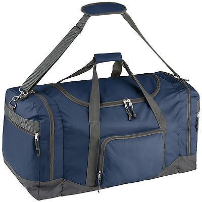 Borsa palestra sportiva uomo donna maniglia e tracolla borsone 70x35x35cm blu