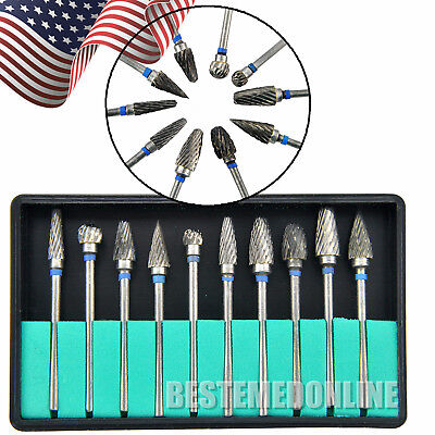 10pcs1set Tungsten Steel Dental Burs Lab Burrs Tooth Drill For Poliser 2.35mm