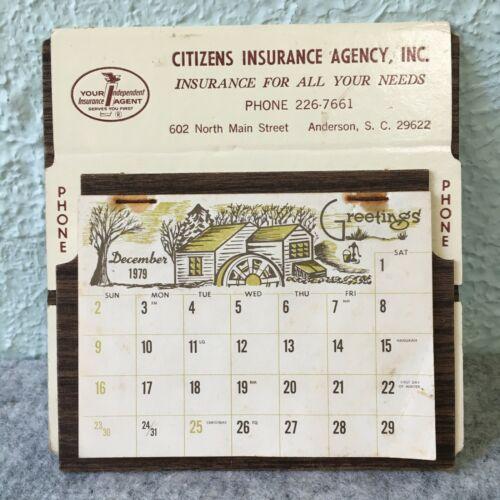 Vintage 1979 Advert Citizens Insurance Agency Calendar Anderson South Carolina