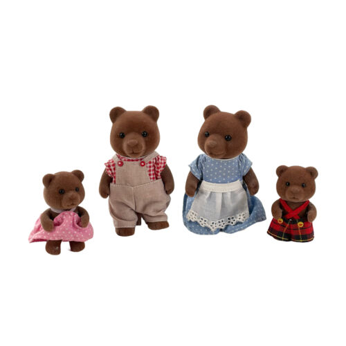 Vintage Sylvanian Epoch Calico Critters Brown Bear Timbertop Family 4 Figures