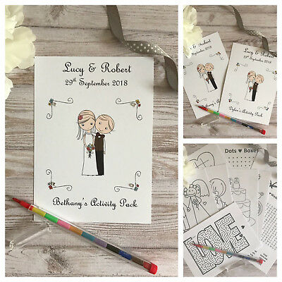CHILDRENS PERSONALISED A6 WHITE WEDDING ACTIVITY PACK BOOK BAG PARTY GIFT FAVOUR