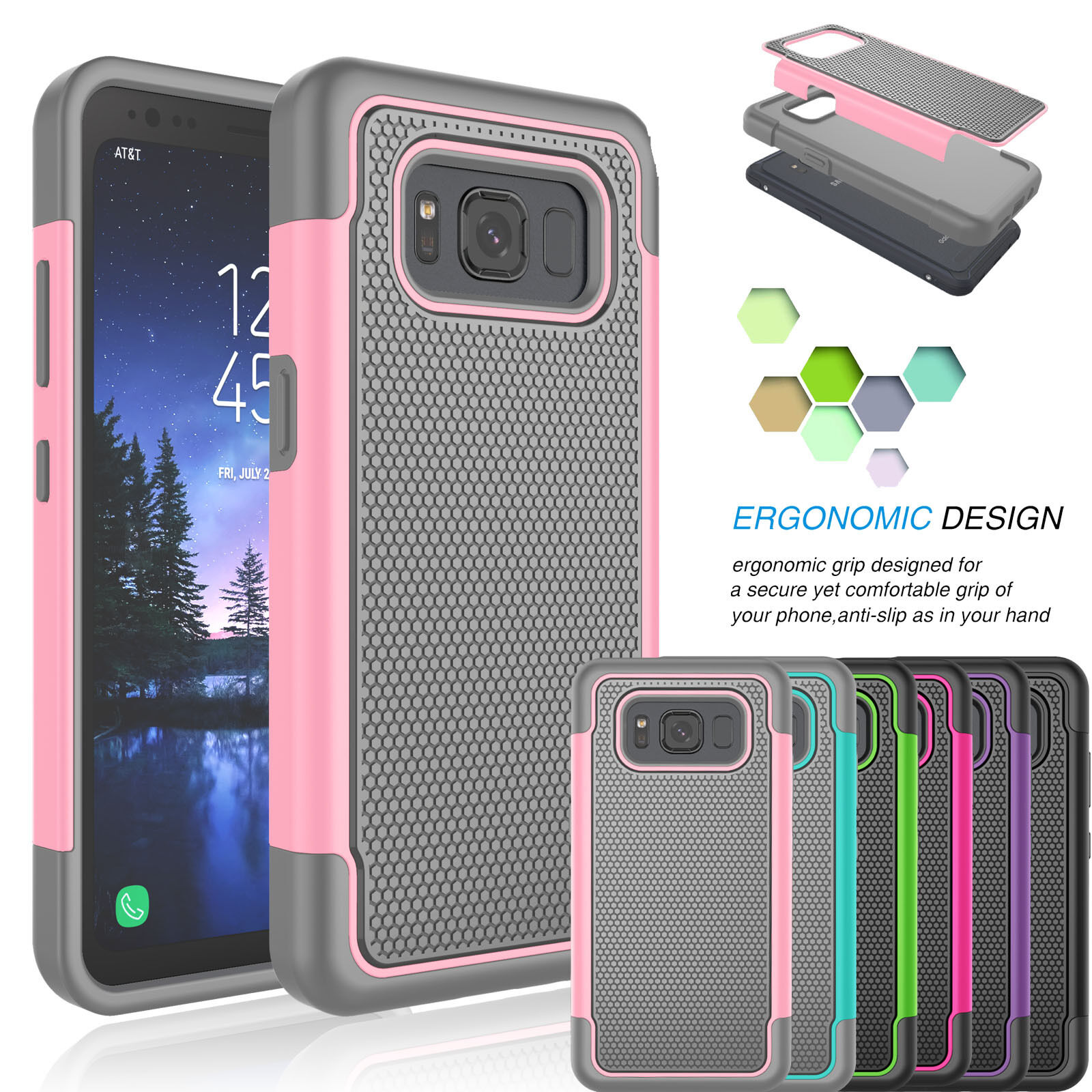 Hybrid Impact Shockproof Matte Armor Case Cover For Samsung Galaxy S8 Active Cases, Covers & Skins