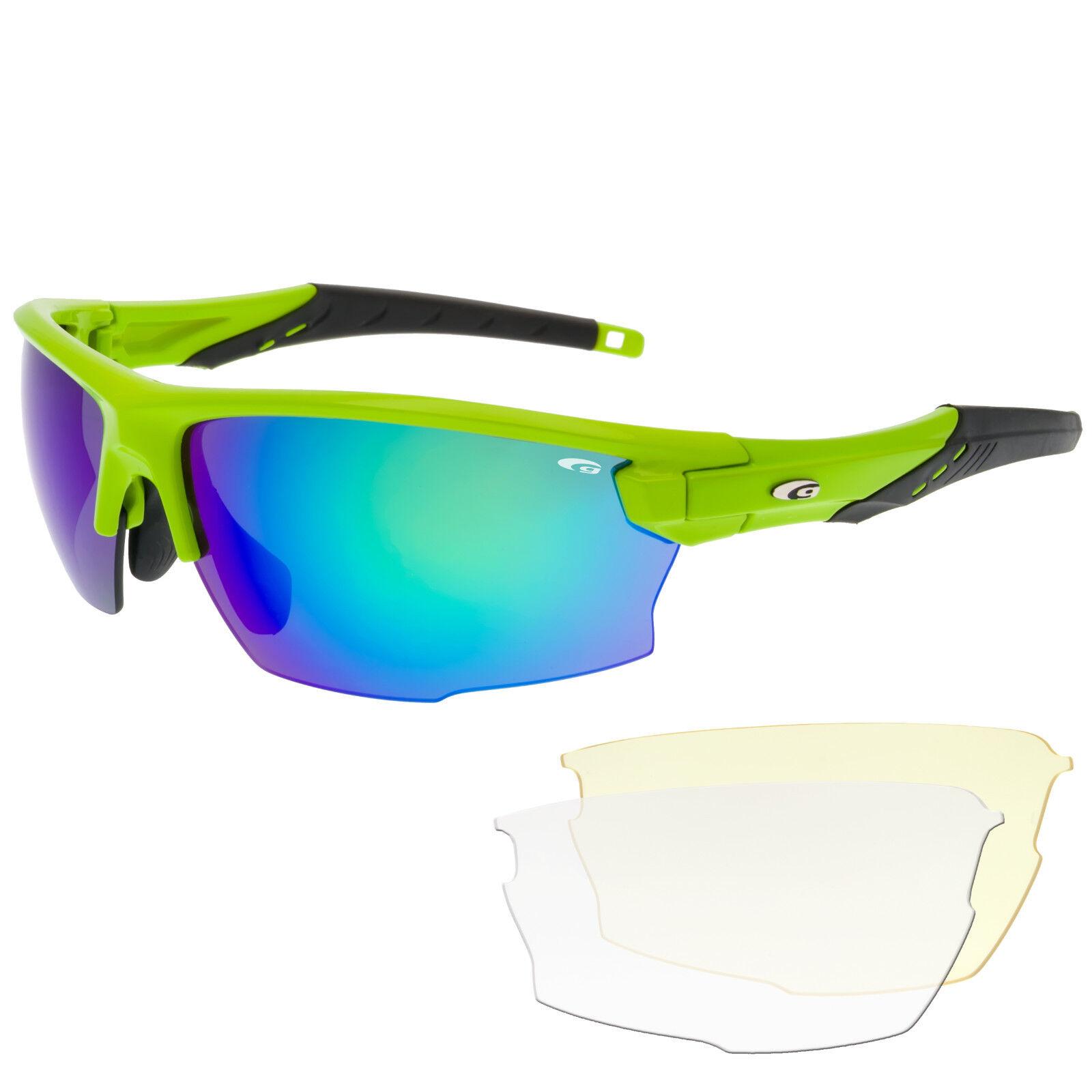 Radbrille Sportbrille Fahrradbrille mit Wechselscheiben klar gelb