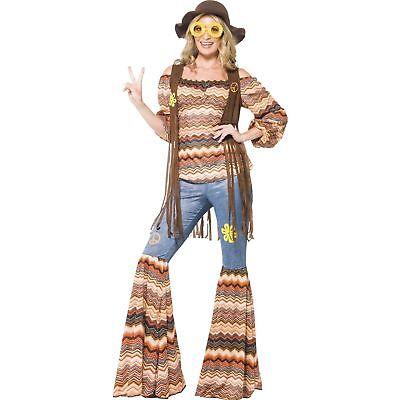 60s 70s Harmony Hippie Flares Hippy Groovy Womens Ladies Fancy Dress Costume](60s Costumes Women)