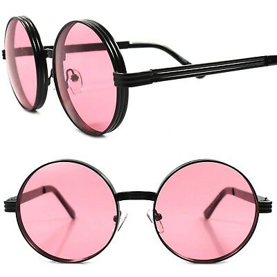 Vintage Retro Style Hip Hop Mens Womens Round Circle Black Red Lens (Red Circle Sunglasses)