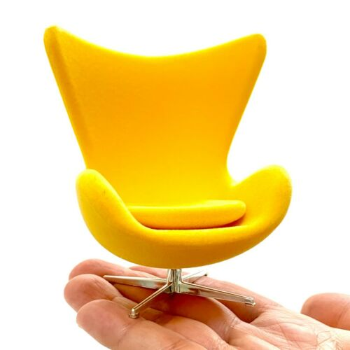 Miniature Egg Chair YELLOW Suede. Mid-Century Designer Chairs-One Chair,