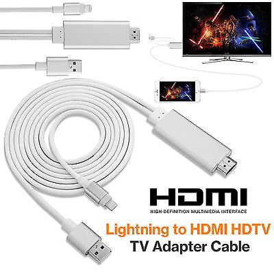 8 Pin 2M Lightning Cable to HDMI TV AV Adapter for iPad iPhone X 8 7 7 Plus 6 6S