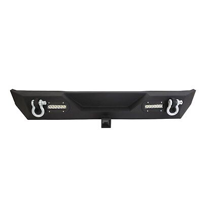 "Rear Bumper w/ LED Light & 2"" Receiver & D-Ring For 87-06 Jeep Wrangler TJ YJ"