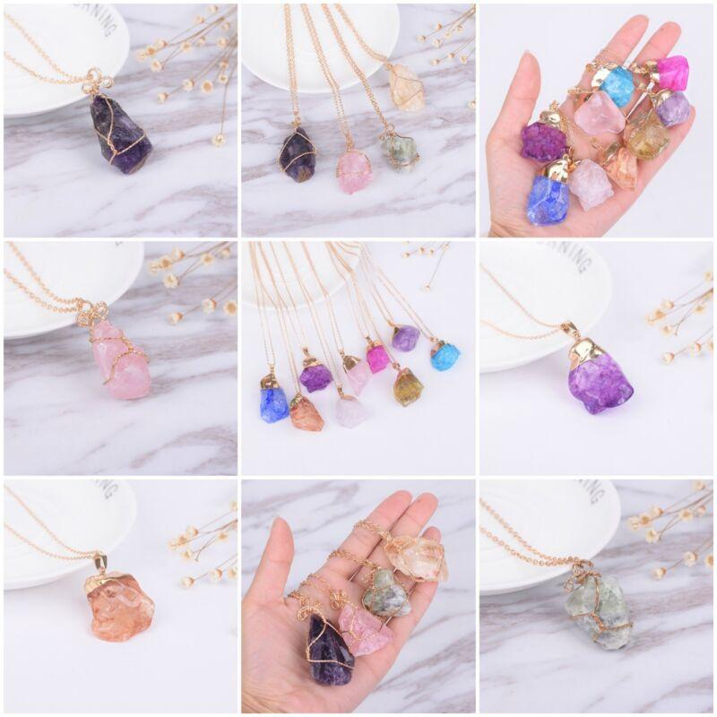 wholesale lot of 10 amethyst agate gemstone pendant necklaces bulk