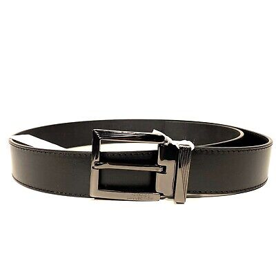VERSACE Collection Mens Smooth Leather Square Buckle Belt Black 85 (MSRP $295)