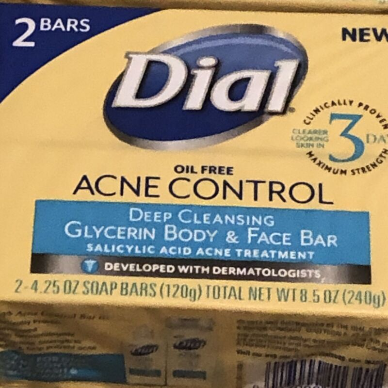 DIAL Oil Free Acne Control Deep Cleansing SOAP 2 Bars Salicylic Acid Discontinue