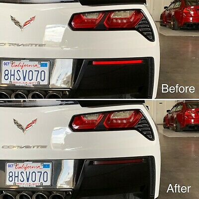 Chevrolet Chevy Corvette C7 Stingray Rear Bumper Reflector Overlay SMOKE