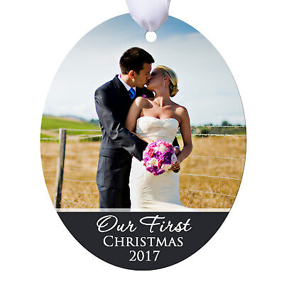 Couples First Christmas Ornament Personalized - Wedding Photo Newlywed (Couples First Christmas Ornament)