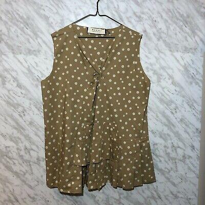 Marni Women's Sleeveless Blouse Pleated Tan Size 46 (US 10)