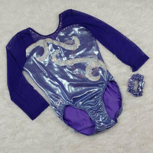 GK Elite 3/4 Sleeve Competition Gymnastics Leotard AXL Adult X-Large Purple Mesh