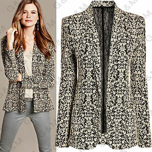 NEXT-Beige-Jacquard-Blazer-Jacket-Summer-Casual-Party-Top-Formal-Womens-Ladies