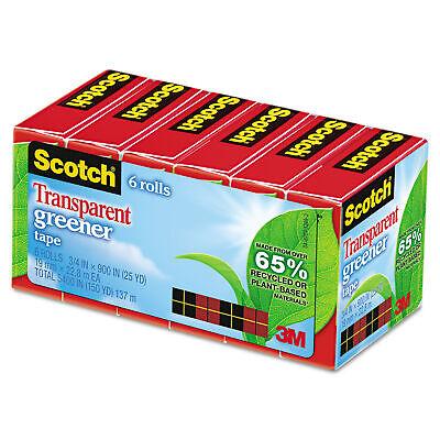 Scotch Transparent Greener Tape 34x900 Boxed 6 Rolls 612-6p