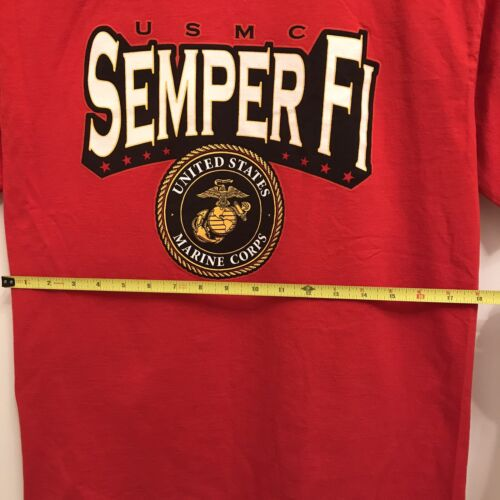 Mens Graphic T Shirts US Marine Corps Short Sleeves M Size Red Made In USA - $25.00
