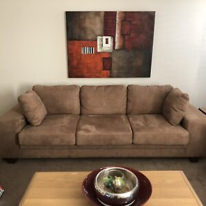 2 & 3 Seat Suede Sofas (selling as a set)