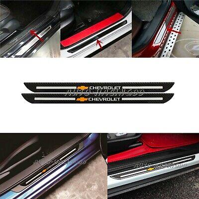 2Pcs Chevrolet Carbon Fiber Car Door Scuff Sill Cover Plates Panel Step Sticker