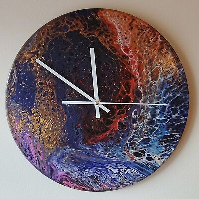 Clock art - abstract home upcycled vinyl fluid painting