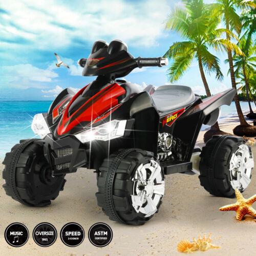 12V Electric Kids Ride On Car Black ATV Toy With/LED Lights