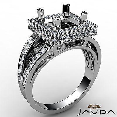 Princess Semi Mount Ring Halo Pave Set 0.65Ct Diamond Engagement 18k White - Semi Mounted Set Ring
