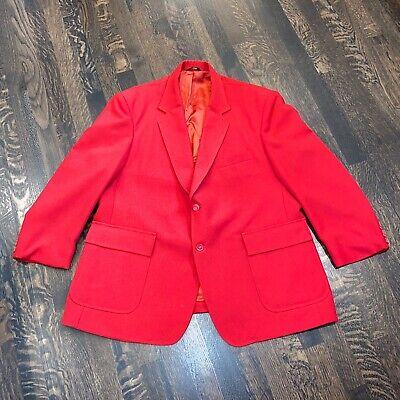 Vtg 60s 70s Red HABAND Suit Jacket Sport Coat Blazer disco retro Mens 48 SHORT Mens Disco Jacket